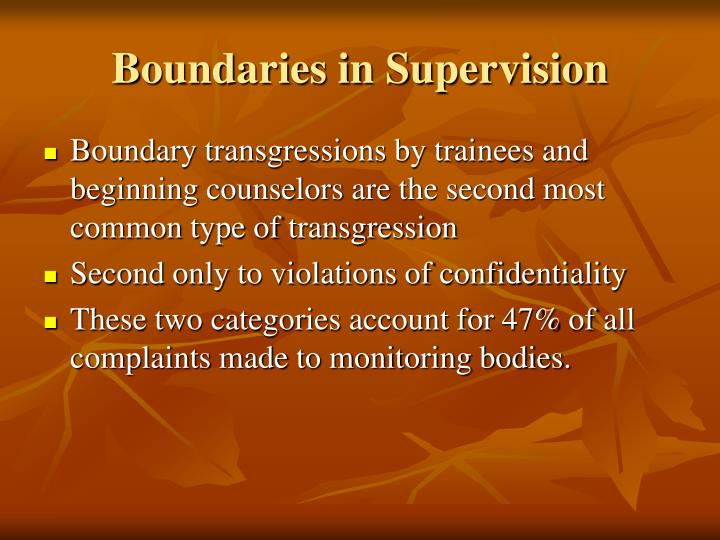 Boundaries in Supervision