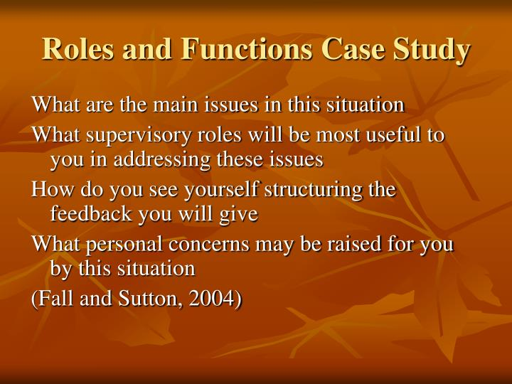 Roles and Functions Case Study
