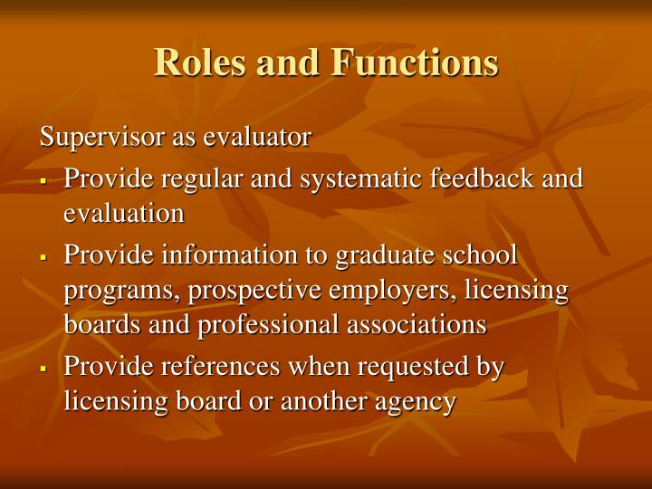 Roles and Functions