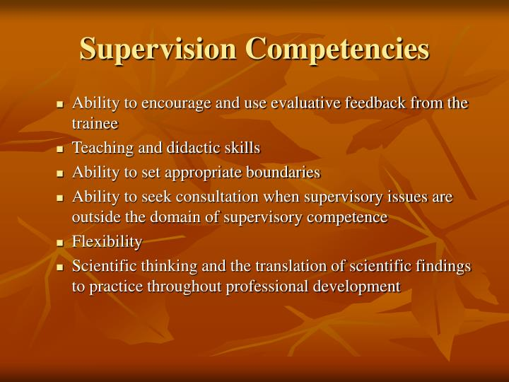 Supervision Competencies