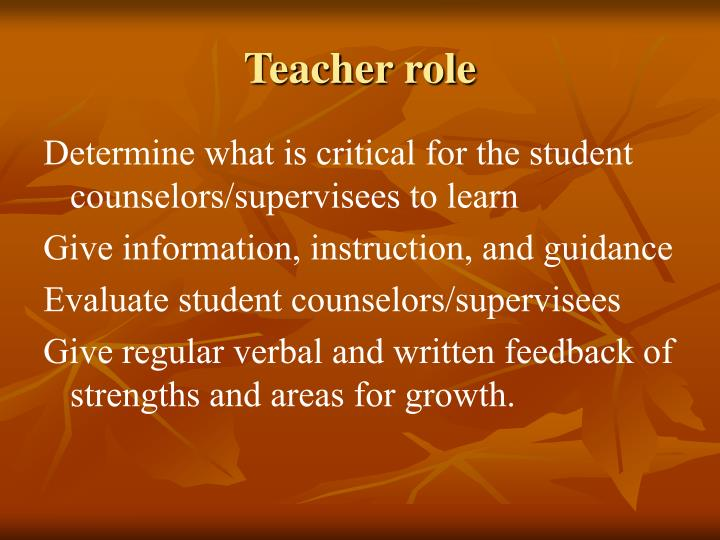 Teacher role