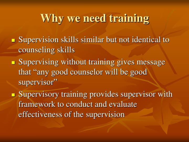 Why we need training