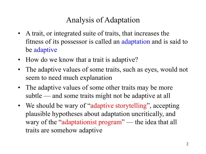 Analysis of adaptation