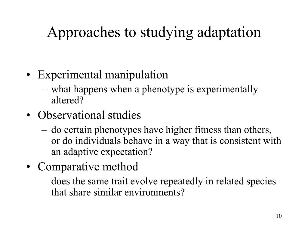 Approaches to studying adaptation