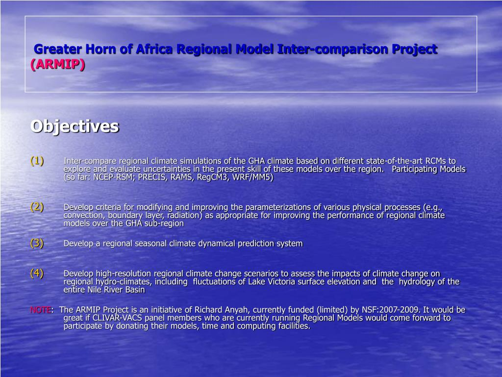 Greater Horn of Africa Regional Model Inter-comparison Project