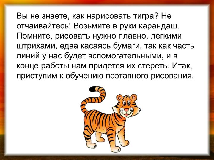 Вы не знаете, как нарисовать тигра? Не отчаивайтесь! Возьмите в руки карандаш. Помните, рисовать нужно плавно, легкими штрихами, едва касаясь бумаги, так как часть линий у нас будет вспомогательными, и в конце работы нам придется их стереть. Итак, приступим к обучению поэтапного рисования.