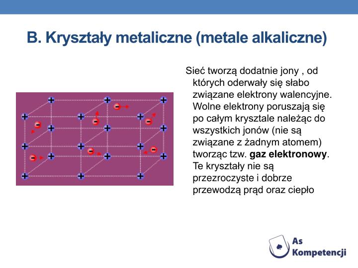 B. Kryształy metaliczne (metale alkaliczne)