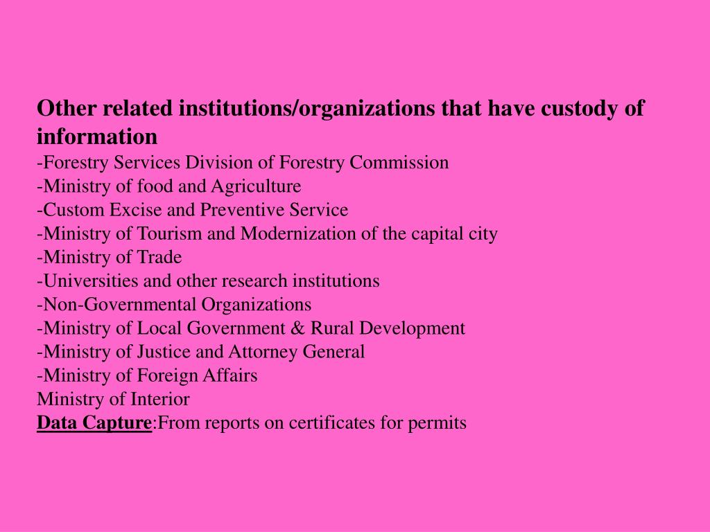 Other related institutions/organizations that have custody of information