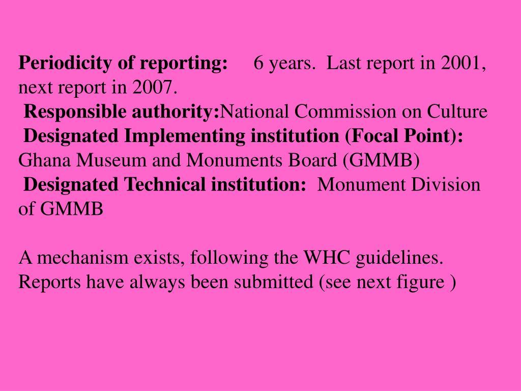 Periodicity of reporting