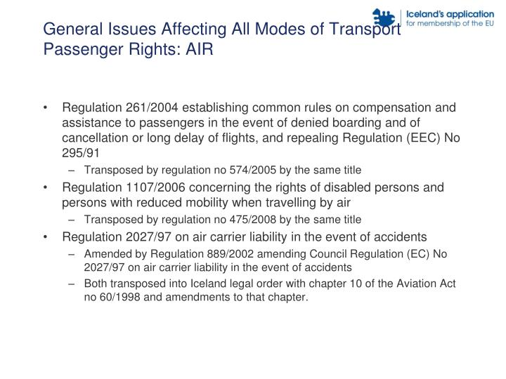 General Issues Affecting All Modes of Transport