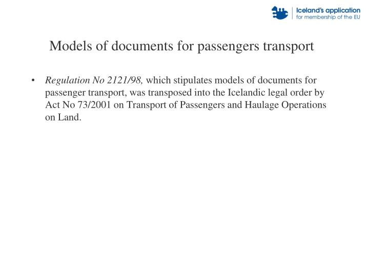 Models of documents for passengers transport
