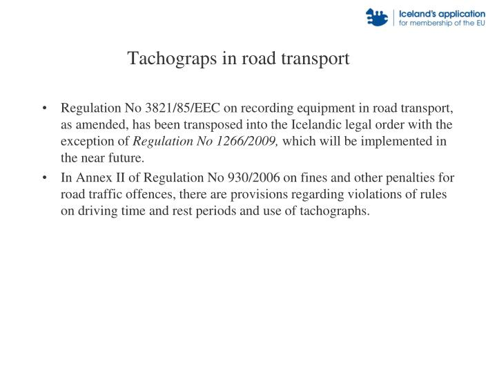 Tachograps in road transport