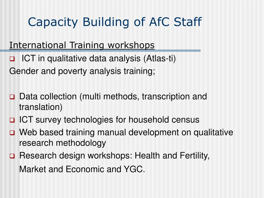 Capacity Building of AfC Staff