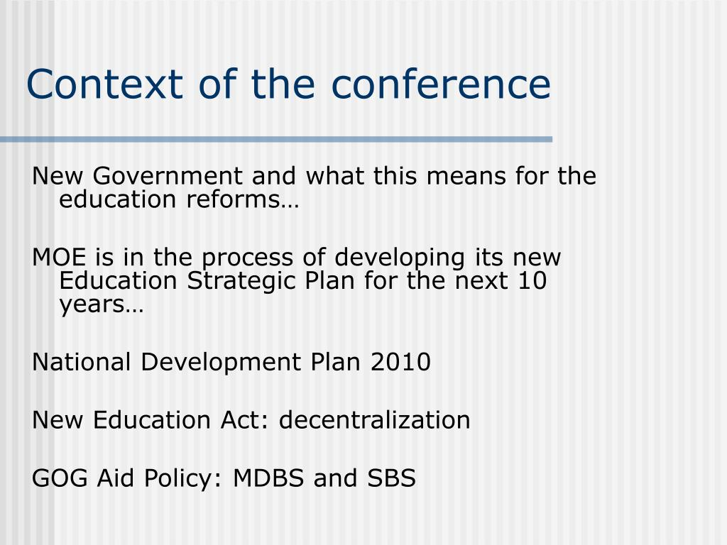 Context of the conference