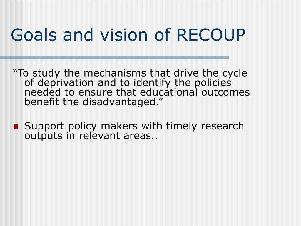 Goals and vision of RECOUP