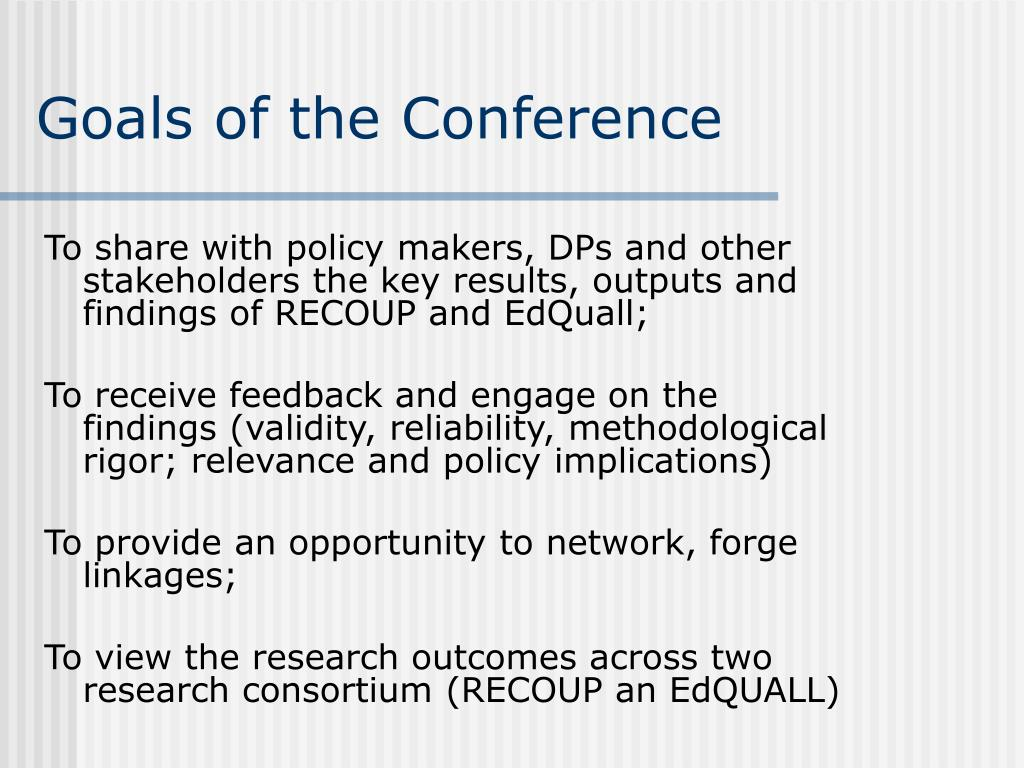 Goals of the Conference