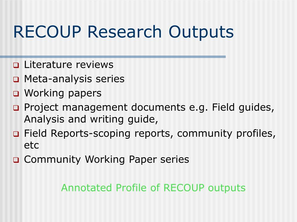 RECOUP Research Outputs