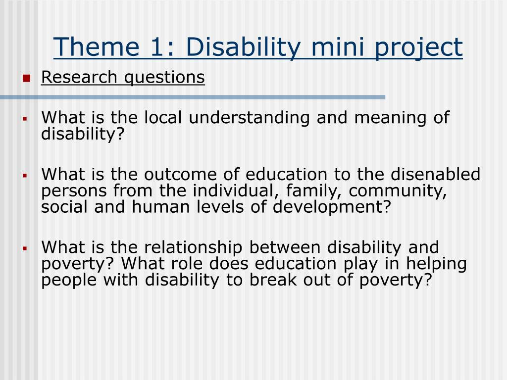 Theme 1: Disability mini project