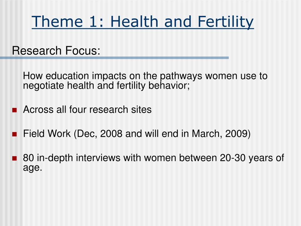 Theme 1: Health and Fertility