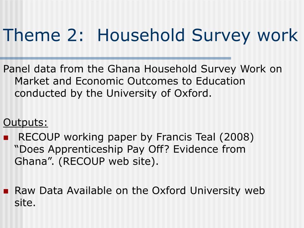 Theme 2:  Household Survey work