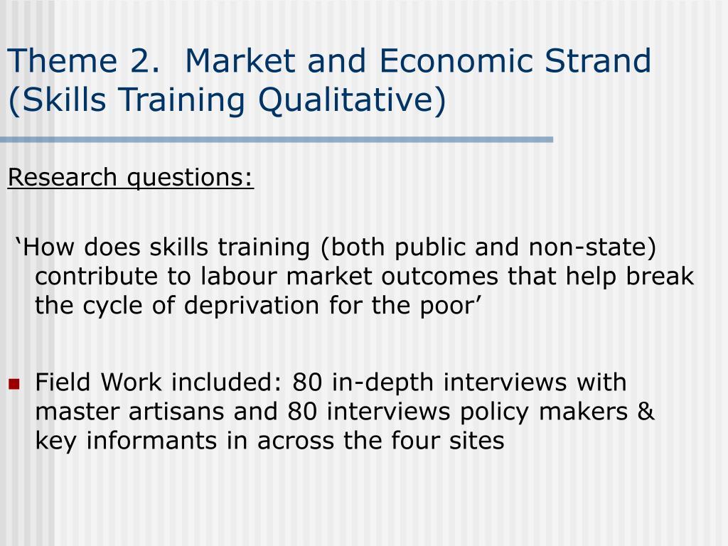 Theme 2.  Market and Economic Strand (Skills Training Qualitative)