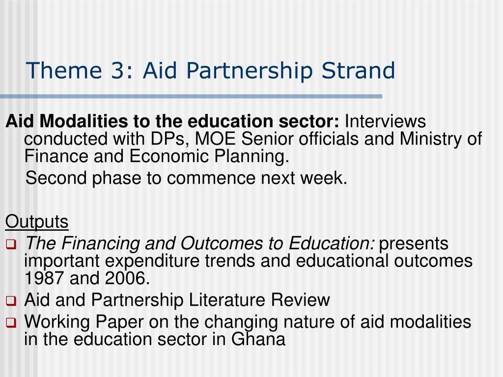 Theme 3: Aid Partnership Strand
