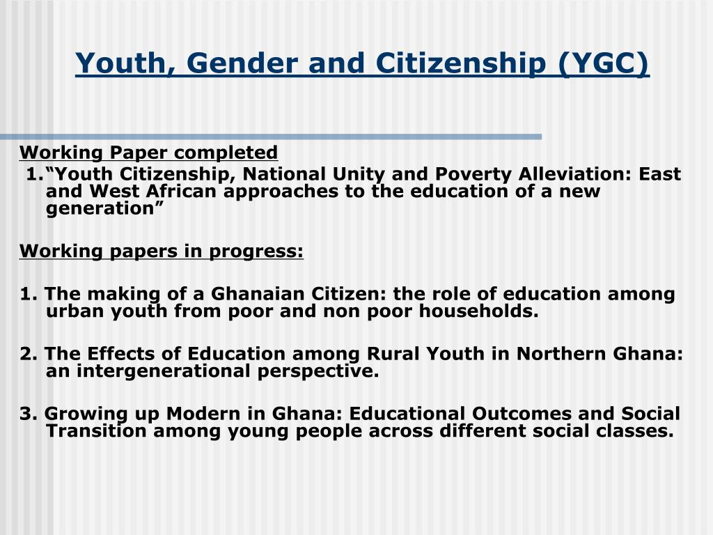 Youth, Gender and Citizenship (YGC)