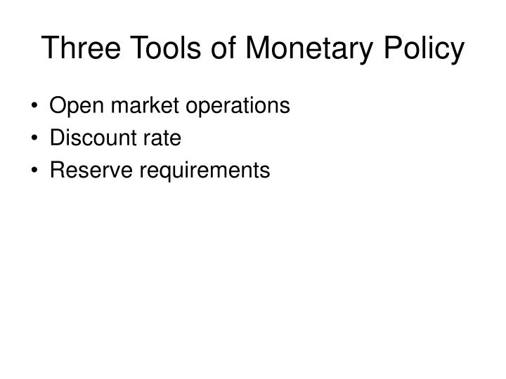 Three tools of monetary policy