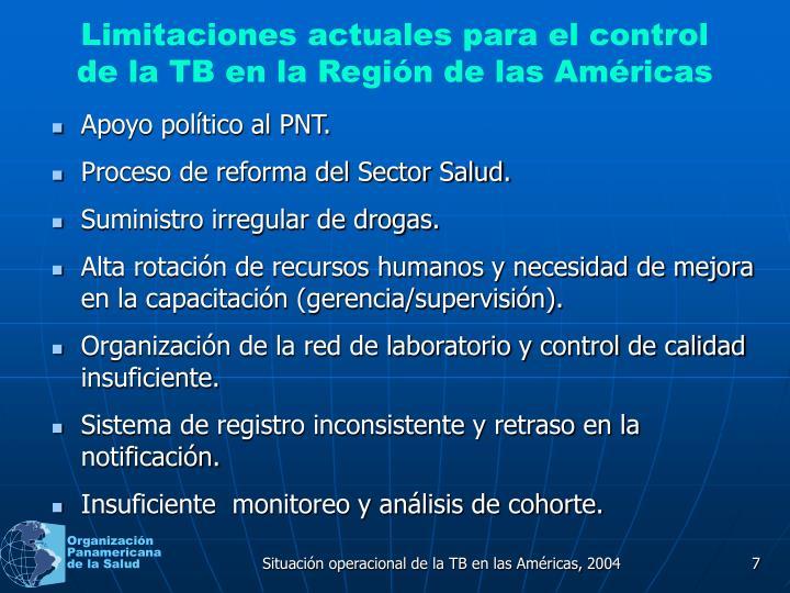 Limitaciones actuales para el control de la TB en la Región de las Américas