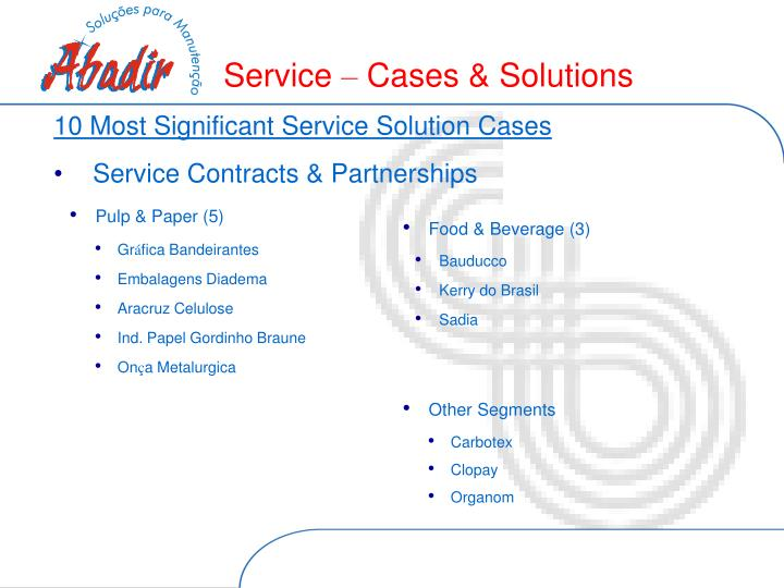 10 Most Significant Service Solution Cases