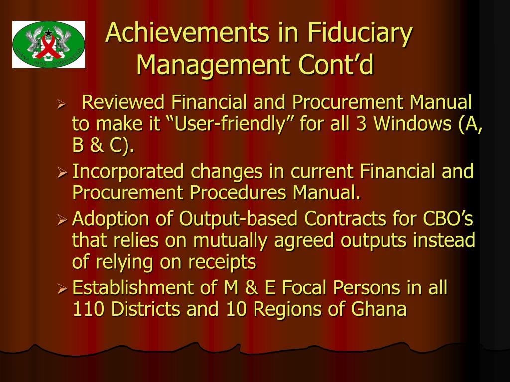 Achievements in Fiduciary Management Cont'd