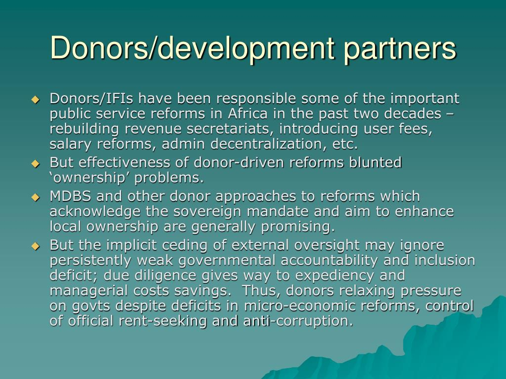 Donors/development partners