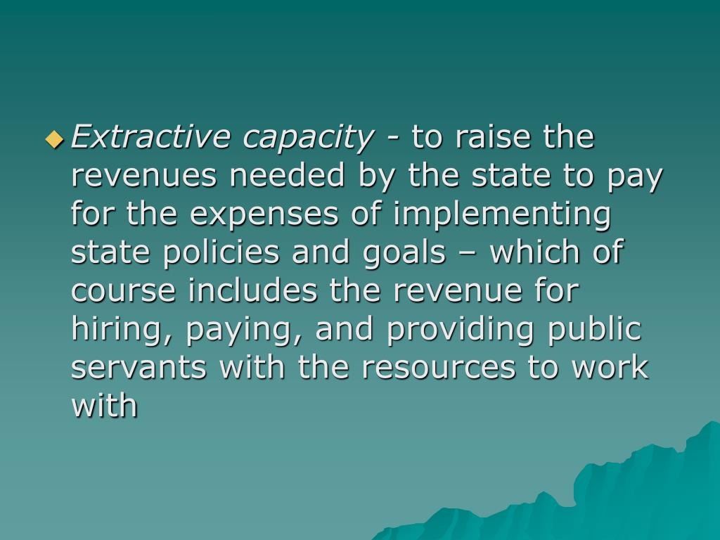 Extractive capacity -