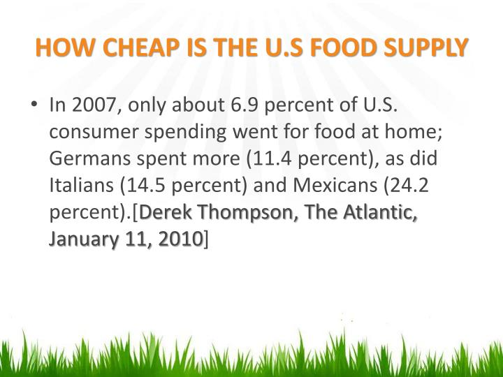 HOW CHEAP IS THE U.S FOOD SUPPLY