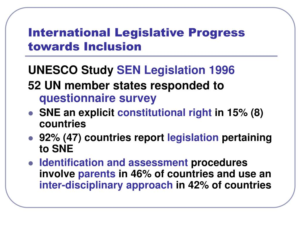 International Legislative Progress towards Inclusion