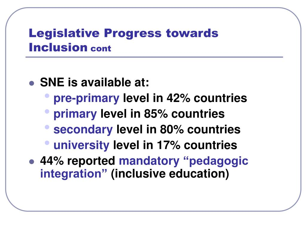 Legislative Progress towards Inclusion