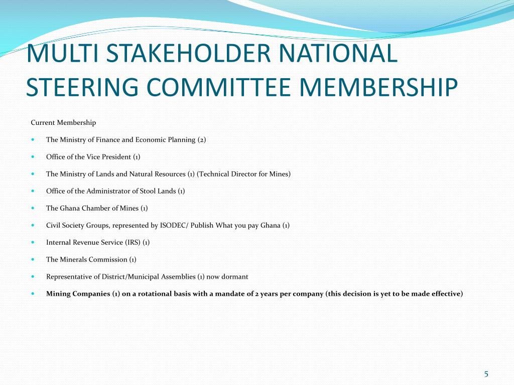 MULTI STAKEHOLDER NATIONAL STEERING COMMITTEE MEMBERSHIP