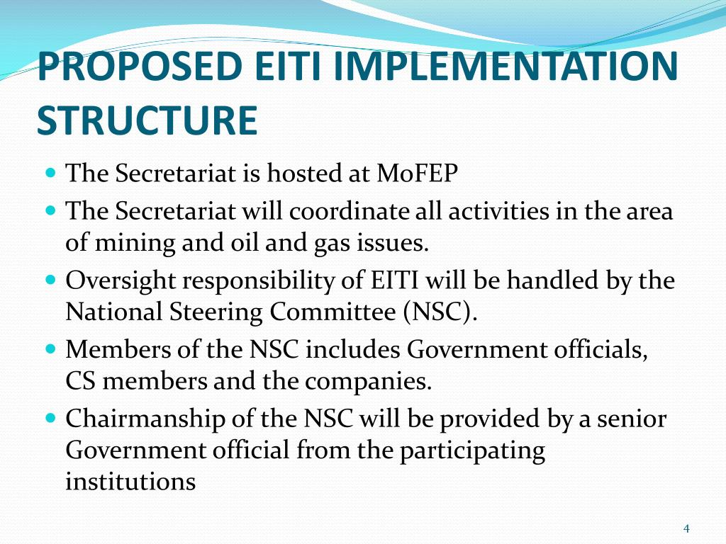 PROPOSED EITI IMPLEMENTATION STRUCTURE
