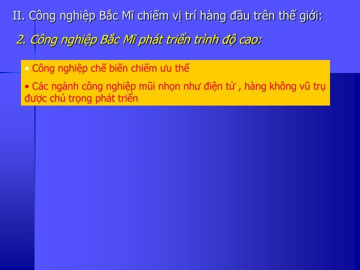 II. Cng nghip Bc M chim v tr hng u trn th gii: