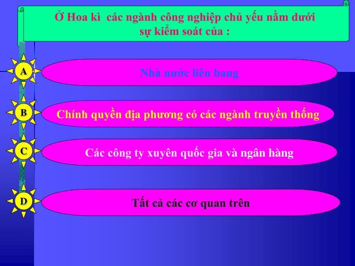 Hoa k  cc ngnh cng nghip ch yu nm di