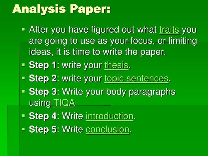 Analysis Paper: