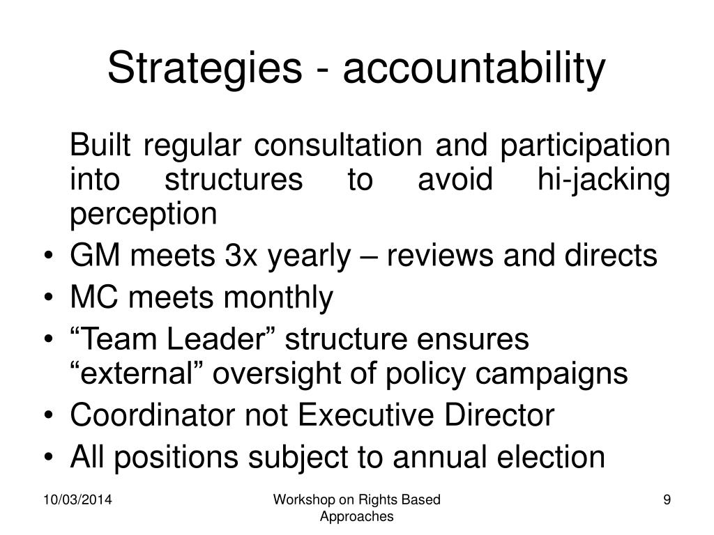 Strategies - accountability