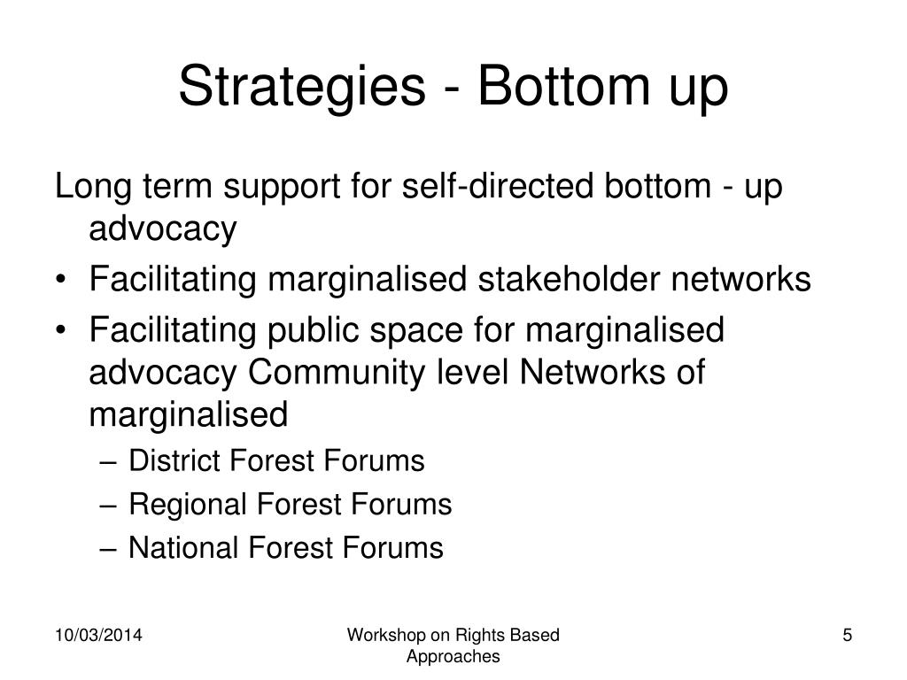 Strategies - Bottom up