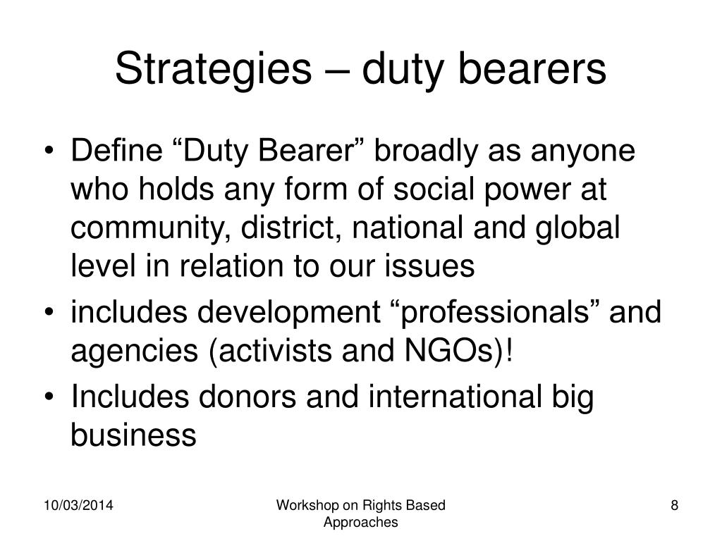 Strategies – duty bearers