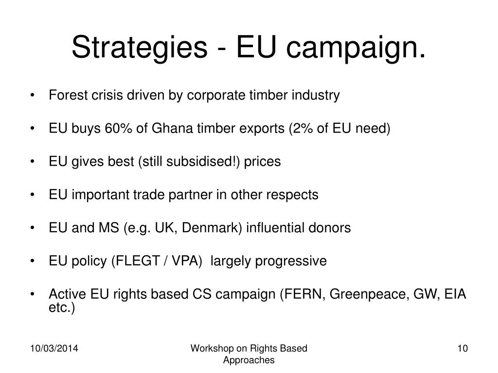 Strategies - EU campaign.