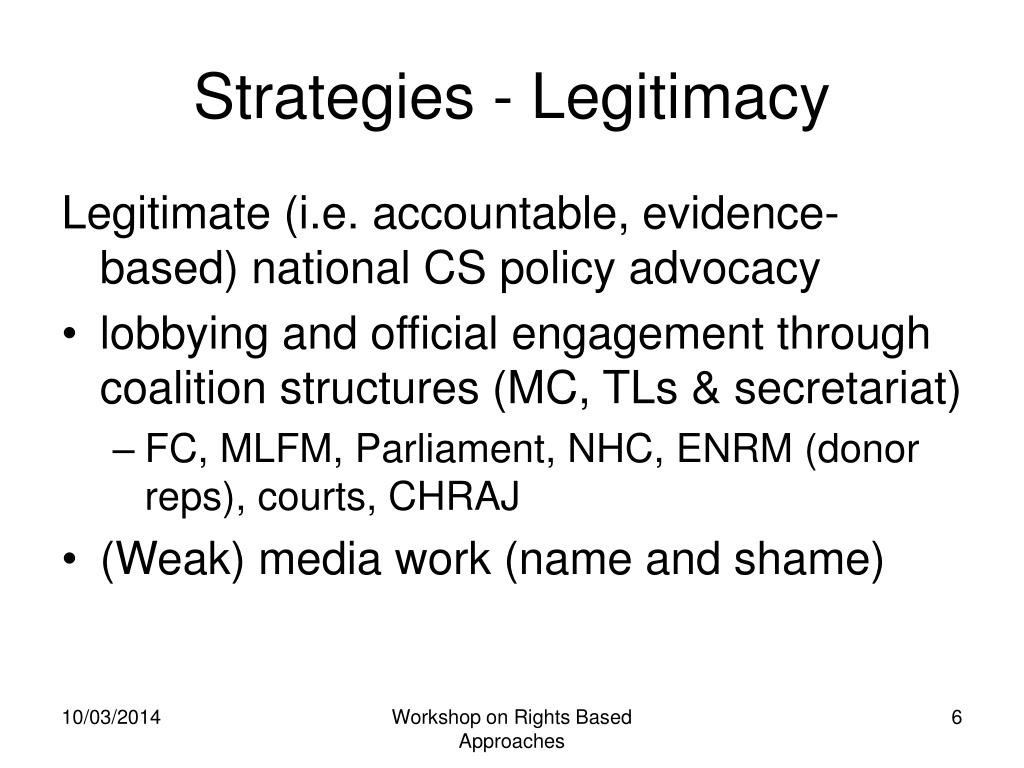 Strategies - Legitimacy
