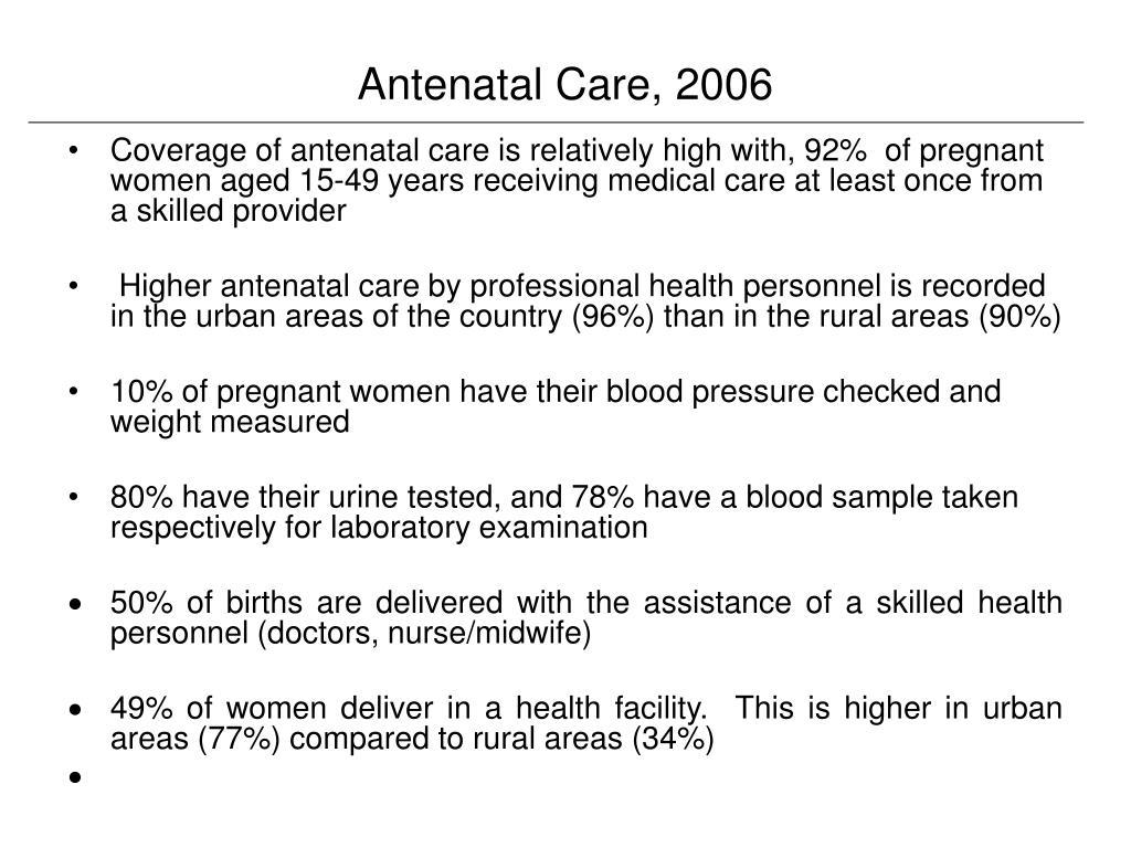 Antenatal Care, 2006