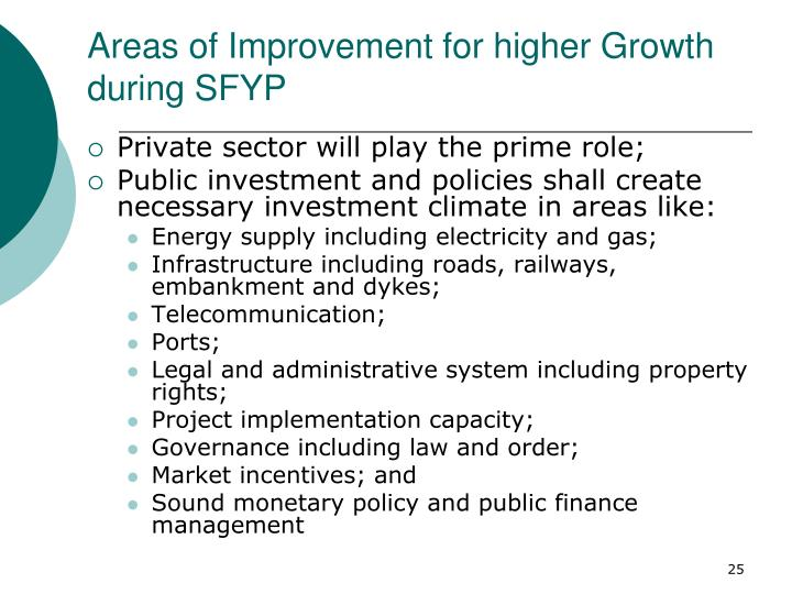 Areas of Improvement for higher Growth during SFYP