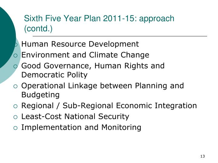 Sixth Five Year Plan 2011-15: approach (contd.)
