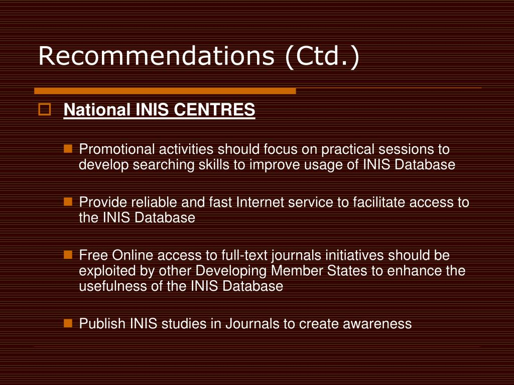 Recommendations (Ctd.)